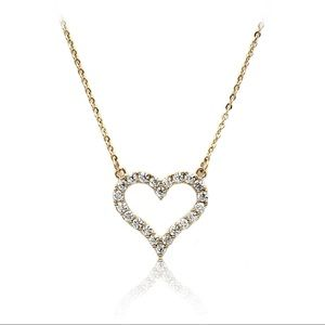 Lovely gold crystal heart necklace